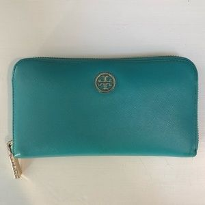 Tori Burch Wallet in Teal with Gold Details